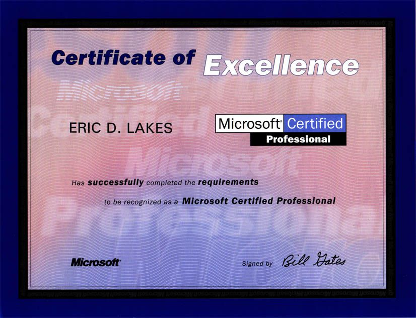MICROSOFT PROFESSIONAL CERTIFICATE DRIVER LICENSE ORIGINAL FORMAT, DESIGN SPECIFICATIONS, NOVELTY SECURITY CARD PROFILES, IDENTITY, NEW SOFTWARE ID SOFTWARE MICROSOFT PROFESSIONAL CERTIFICATE driver